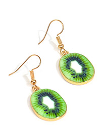Sweet Green Kiwi Fruit Pendant Decorated Short Earrings