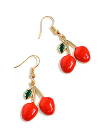 Sweet Red Cherry Pendant Decorated Short Earrings