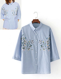 Fashion Blue Flower Pattern Decorated Simple Shirt