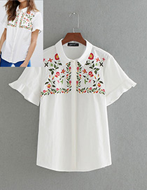 Fashion White Embroidery Petals Pattern Decorated Short Sleeves Shirt