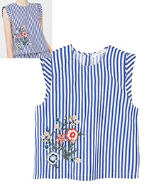 Fashion Blue Embroidery Flower Decorated Vest