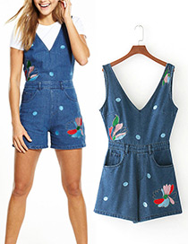 Fashion Blue Embroidery Flower Decorated Jumpsuits