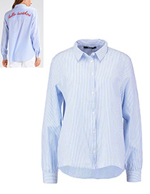 Fashion Blue Color-matching Decoratecd Shirt