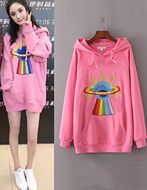 Trendy Pink Embroidery Decorated Long Sleeves Hoodie