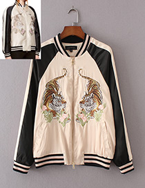 Trendy Pink Embroidered Tiger Decorated Simple Baseball Jackets