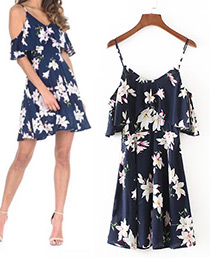 Trendy Navy Flower Pattern Decorated Long Suspender Dress