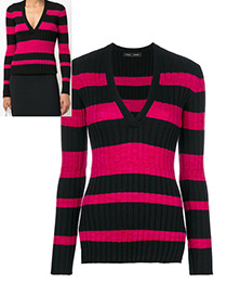Trendy Plum Red++black Stripe Pattern Decorated V Neckline Sweater