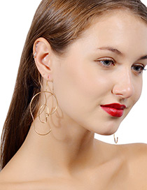 Exaggerated Gold Color Pure Color Decorated Hollow Out Earrings