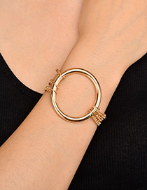 Trendy Gold Color Circular Ring Decorated Pure Color Bracelet