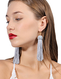 Vintage Gray Long Tassel Decorated Pure Color Earrings