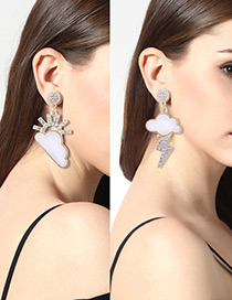 Personality White Cloud Shape Decorated Earrings