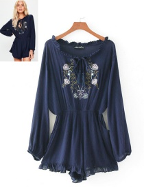Fashion Navy Embroidery Flower Decorated Jumpsuit