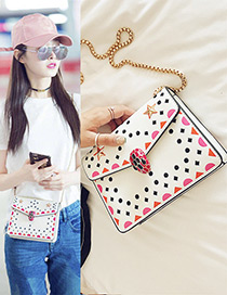 Lovely White Star Shape Decorated Shoulder Bag