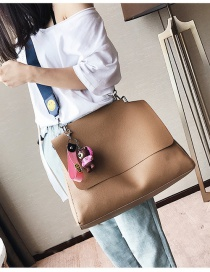 Fashion Brown Smiling Face Pattern Decorated Shoulder Bag