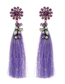 Fashion Light Purple Diamond&tassel Decorated Pure Color Earrings