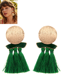 Fashion Green Round Shape Decorated Tassel Earrings