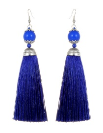Fashion Sapphire Blue Tassel Decorated Pure Color Earrings