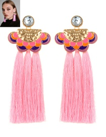 Bohemia Pink Clouds Shape Decorated Tassel Earrings