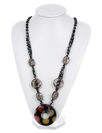 Fashion Black Dot Decorated Long Chain Necklace