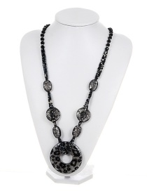 Fashion Black Leopard Decorated Long Chain Necklace
