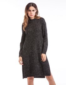 Fashion Black Pure Color Decorated Long Sweater
