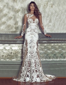 Elegant White Pure Color Decorated Long Dress