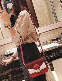 Elegant Red Color-matching Decorated Shoulder Bag
