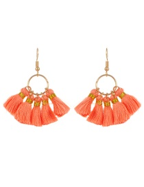 Bohemia Orange Tassel Decorated Earrings