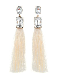 Elegant Beige Square Shape Decorated Tassel Earrings