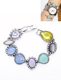 Elegant Multi-color Waterdrop Shape Decorated Bracelet