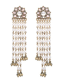 Vintage Gold Color Metal Chain Decorated Earrings