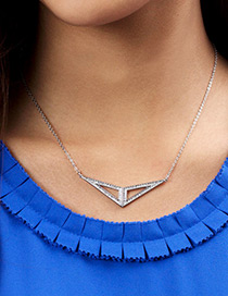 Fashion Silver Color Triangle Shape Pendant Decorated Necklace