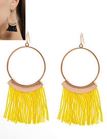 Bohemia Yellow Tassel Decorated Round Earrings