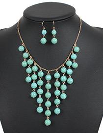 Elegant Green Round Shape Decorated Jewelry Sets