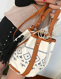 Elegant White Tassel Decorated Shoulder Bag