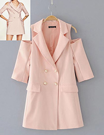 Sexy Pink Pure Color Decorated Coat