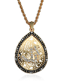 Elegant Gold Color Oval Shape Decorated Necklace