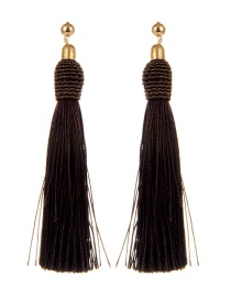 Bohemia Brown Pure Color Decorated Tassel Earrings
