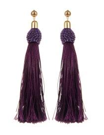 Bohemia Purple Pure Color Decorated Tassel Earrings