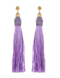 Bohemia Light Purple Pure Color Decorated Tassel Earrings