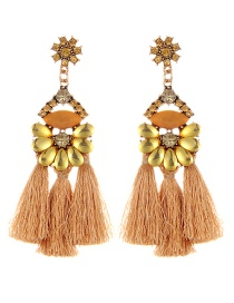 Vintage Khaki Oval Shape Decorated Tassel Earrings