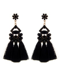 Vintage Black Oval Shape Decorated Tassel Earrings