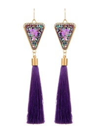 Retro Purple Triangle Decorated Tassel Earrings