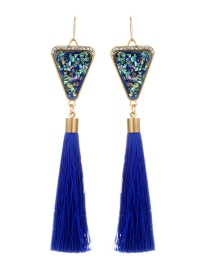 Retro Sapphire Blue Triangle Decorated Tassel Earrings