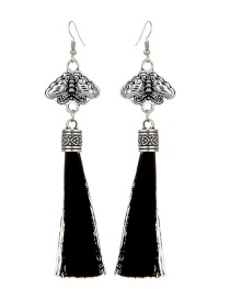 Bohemia Black Metal Buterfly Decorated Tassel Earrings