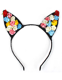 Lovely Multi-color Flower Shape Decorated Cat Ear Hair Clasp