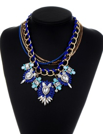 Vintage Sapphire Blue Flower Shape Decorated Multilayer Necklace