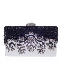 Luxury White+black Oval Shape Decorated Hand Bag