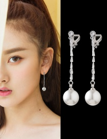 Elegant Silver Color Round Shape Decorated Long Earrings