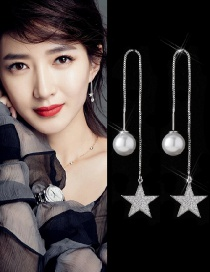 Elegant Silver Color Star Shape Decorated Earrings Reviews